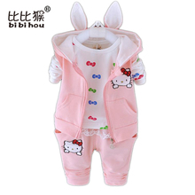 2016 1 set= 1 hoodie + 1 pant + 1 -tshirt cartoon Hello Kitty Infants Newborn twinset Clothing Sets Baby Girls Suit Sets
