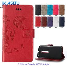 "IKASEFU Fashion PU Leather Stand Phone Case for MOTO X Style 5.7"" Sock Magnet Closure Embossed Butterfly Wallet Flip Cover"