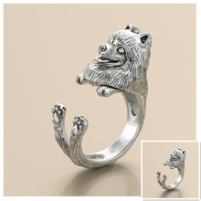 Drop Shipping Retro punk Pomeranian Ring free size cute hippie animal Pomeranian dog Ring jewelry for pet lovers