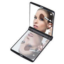1pc Women Foldable Makeup Mirrors Lady Cosmetic Hand Folding Portable Compact Pocket Mirror 8 LED Lights Lamps Drop Shipping(China)