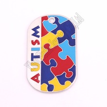 Autism Awareness Identification pendant military dog tag style Puzzle Piece pattern with hand applied enamel colors ID Jewelry(China)
