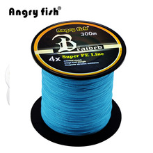 Angryfish Wholesale 300 Meters 4x Braided Fishing Line 11 Colors Super PE Line(China)