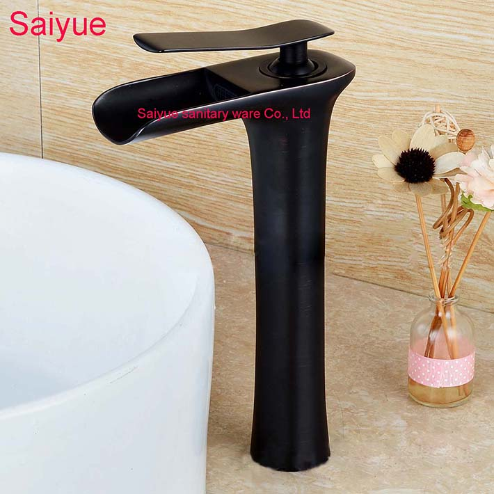 New Wine Cup shape Hot and Cold Waterfall tap Black Oil Rubbed Bronze Single Handle Vessel Bathroom Sink Faucet Lavatory Mixer <br><br>Aliexpress