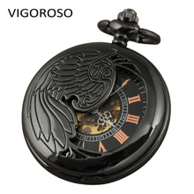 Personalised Pocket Watch Mechanical Hand Wind Double Half Hunter Black Steel Clock For Men Free Gift Box(China)