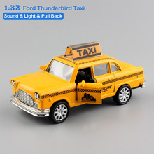 1:32 Scale boys small mini FORD THUNDERBIRD taxi pull back sound light children's metal diecast model auto cars toys for kids(China)