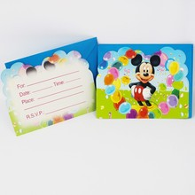 12psc Cards+12pcs Envelops cartoon Mickey mouse invitations Card Kids Children Birthday Children's Day Party Decoration