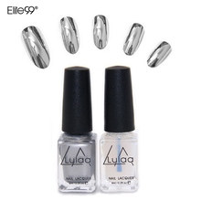 2pc/set Varnish Base Coat Metallic Nails Art DIY Manicure Design Behind Silver Mirror Effect Metalic UV Nail Polish