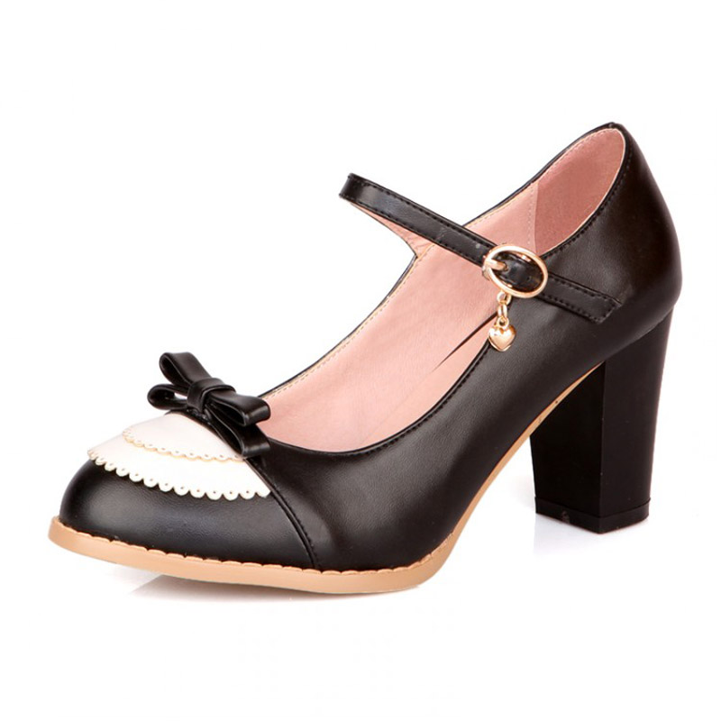 New Women Thick Heels Mary Jane High Heels Shoes Fashion Color Block Bow Ankle Strap Women Pumps Ladies Office Shoes Size 34-45<br><br>Aliexpress