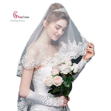Bridal Veils 2017 Lace Edge 1.2 m * 1 m  Two-Layer Wedding Accessories Cathedral Wedding Veil Mantilla Wedding Veil Wedding Veil