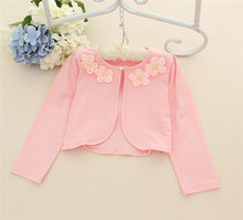 2017 Spring Summer Party Jacket Bolero For Girls Bride Girls Cape Wedding Children Outerwear Kids Pink Cardigan Cape With Pearl