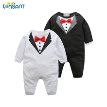 LONSANT Newborn Baby Clothes Cotton Rompers Long Sleeve Gentleman Prince Tie Romper Jumpsuit One-Piece Suits Jumper Dropshipping