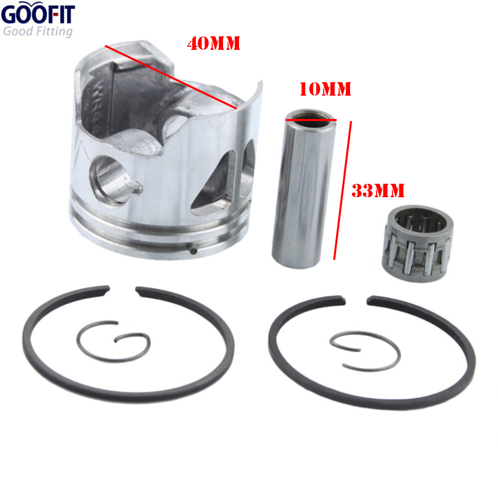 GOOFIT 40mm Piston Ring 10mm Pin Set Kit Assembly for 2-stroke 47cc Scooters Moped Pocket Bike ATV Quad Engine PartsK082-042(China (Mainland))