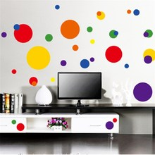 Wall stickers manufacturers wholesale geometry color circles Post sitting room background wall glass everywhere