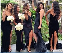Sexy Black Bridesmaids Dress Mermaid 2017 Off The Shoulder High Side Slit Party Dresses Long Bridesmaid Dresses Robe de Soiree