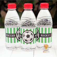 24pcs Soccer Football Happy Birthday water bottle label candy bar decoration kids birthday party supplies baby shower AW-0614