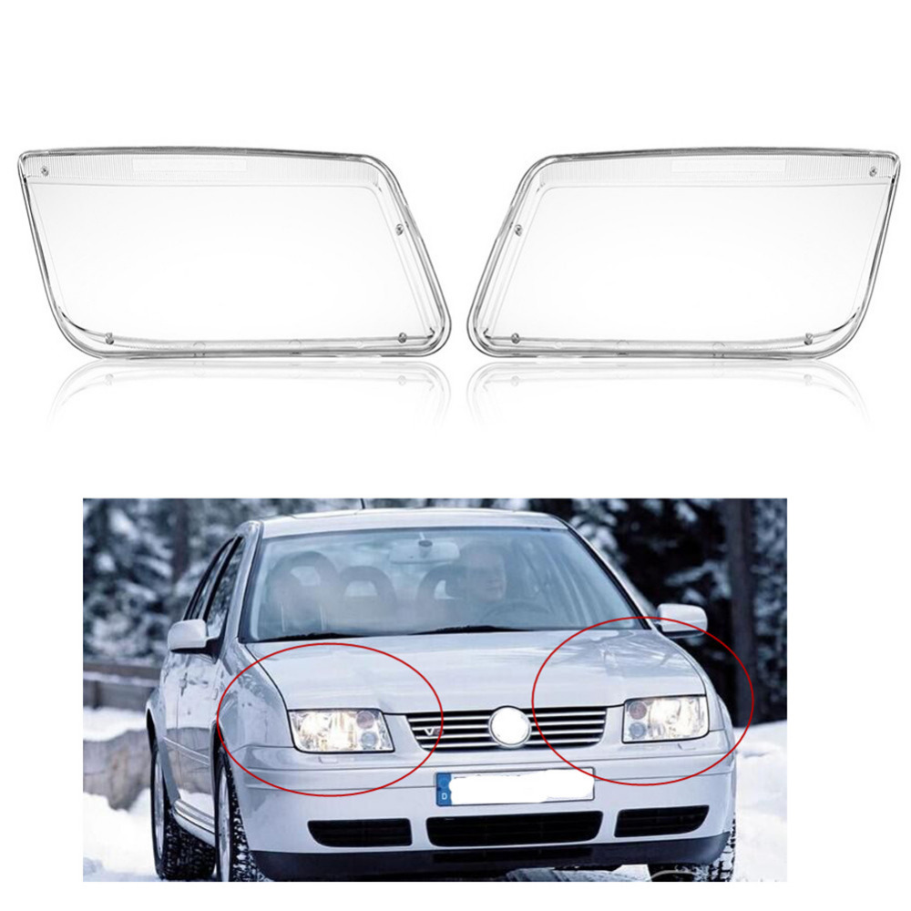Pair Car Headlight Lense Clear Covers Replacement For VW Bora Jetta MK4 1999-04