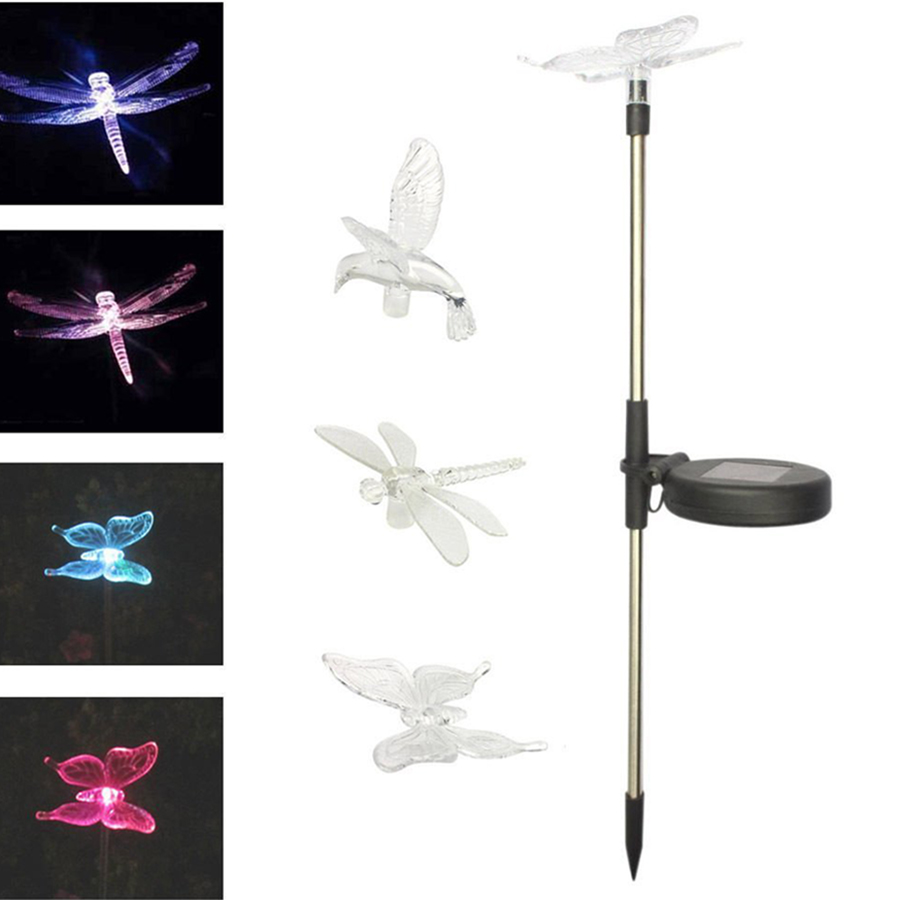 Color-Changing LED Solar Landscape Path Light Outdoor Dragonfly/Butterfly/Bird Lawn Lamps Garden Lawn Landscape Lamp