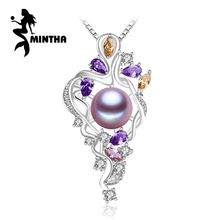 MINTHA 925 sterling silver flower necklace,Fine jewelry statement necklace,Pearl pendant Yellow gem ,Purple gem Bohemia necklace(China)