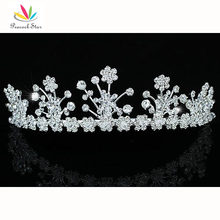 Peacock Star Bridesmaid Bridal Wedding Party Quality Sparkling Flower Crystal Tiara CT1404