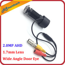 New HD 2.0MP AHD 1.7mm Lens Wide Angle Door Eye Hole Video mini Camera Wired Color CCTV 1200TVL Surveillance Camera For AHD DVR(China)
