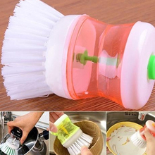Creative Automatic hydraulic Pot Brush Liquid Storage Cup Kitchen Boiler Plastic Cleaning Brushes Kitchen Cleaner(China)