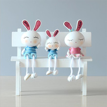 Rural Resin Rabbit Family Figurines Cute Resin Bunny Ornaments Children Doll Artware Home Decor 3 Pcs/set Free Shipping