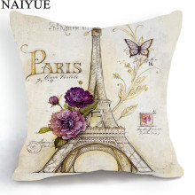 Pillow NAI YUE Comfortable Cotton Linen Pillow Case Retro Style Sketch Paris Eiffel Tower Pillow Best Gifts For Home Decoration