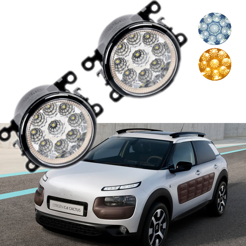 For Citroen C4 Cactus 2014 2015 2016 9-Pieces Leds Chips Yellow / White LED Fog Light Lamp H11 H8 12V 55W Halogen Fog Lights<br>