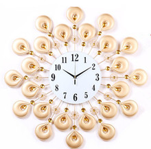 Modern European wrought iron wall clock, creative quartz clock sitting room, bedroom wall clock personalit