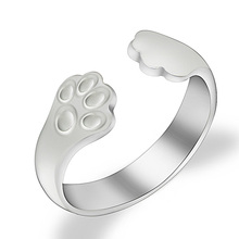2017 New Trendy Design Cat Claws Ring Silver Color Cute Animal Cat Paw Rings For Women Opening Ring For Girls Gift