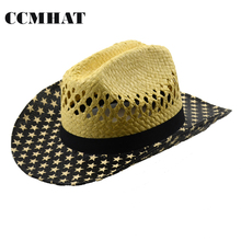 USA Flag Cowboy Hat For Unisex 2017 New Style Hollow Manual Weave Paper Cowboy Hats 5 Star Print Adult Western Chapeu Cowboy Hat