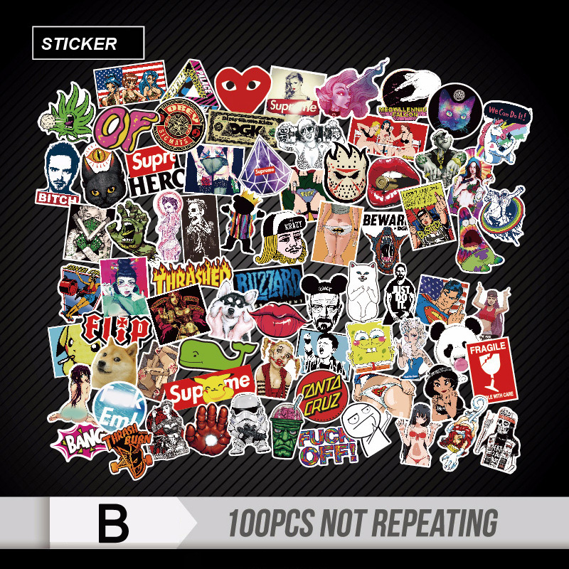 100 Pcs Mixed Funny Stickers for Car Motorcycle Laptop Luggage Home Decor