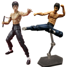 3 Style Kungfu Master Moveable 15cm Figma 266 SHF S.H.Figuarts (SHF) Bruce Lee With Nunchaku PVC Action Figure In Box