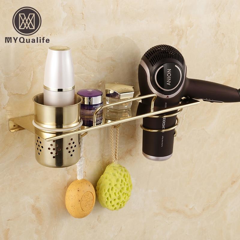 Chrome &amp; golden Wall Mounted Bathroom Storage Holder Hair Dryer Holder Towel Hooks Commodity Shelf<br>