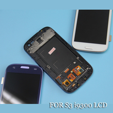 screen for samsung s3 i9300 lcd display frame s3 i9300 display for samsung s3 i9300 LCD White Blue(China)