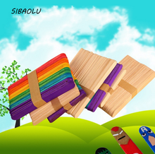 50Pcs/set Useful Colorful Wooden Ice Cream Stick Popsicle Stick DIY kids handmade making Crafts kids gift