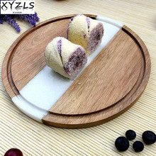 XYZLS Top Grade Natural Marble Round Plate Sushi Cake Dessert Dish Cheese Pizza Tray Flat Plate Fruit Tray Grade A Tableware(China)
