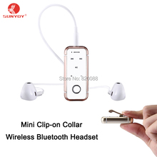 Mini Clip-on Collar Wireless Bluetooth Headset Advanced Bluetooth 4.1 Version for Cell Phone/Home/Car with 3.5 mm Stereo Output(China)