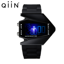 Airplane Shaped Digital Watch with Flash Backlight Silicone Strap LED Sports Watch With Alloy Case