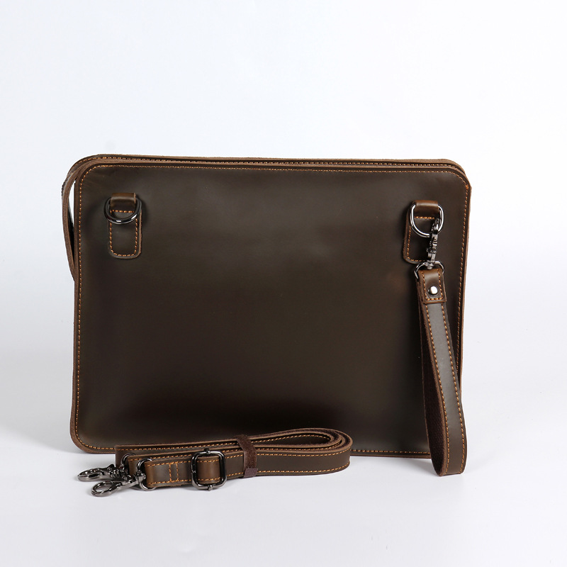 Luxury New Crazy Horse Genuine Leather Mens Crossbody Shoulder Messenger Bag Laptop Ipad Tablet Notebook OL Zipper Business Bag<br>