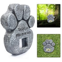 Paw Print Pet Memorial Stone With Photo Frame Loss Of Pet Gift Dog or Cat Grave(China)