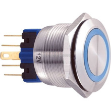22mm 12V Blue Ring Led Light Momentary Push Button Switch DPST Metal Industrial Boat Car DIY Switch