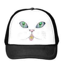 cat alien eye Print Trucker Hat Baseball Cap For Women Men Unisex Mesh Adjustable Size Tumblr Drop Ship M-127