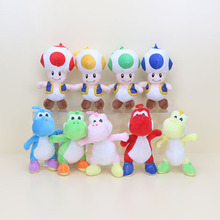 9pcs/lot 7'' 18cm Super Mario Bros Mario Luigi Run Yoshi Mushroom Toad plush stuffed animal toys