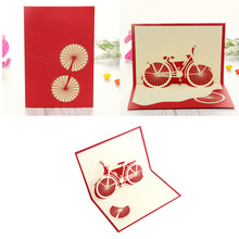 S-home Bicycle Travel 3D Pop Up Card Happy Birthday Valentine Easter Anniversary Gift APR5(China)