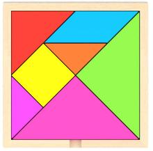 hot sell 1 pc Kids Children Wooden Educational 7 Pieces Geometric Tangram Puzzle Square Toys free shipping GYH