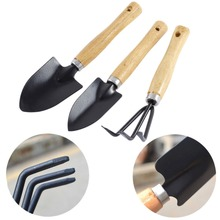 OOTDTY 3pcs Mini Elegant Plant Garden Gardening Tools Set Metal With Wooden Handle Tool Rake Shovel Easy to Carry(China)