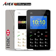 New Item Ultra Thin AIEK V5 Card Phone Pocket Mini Phone Touch Keyboard Quad Band Multi languages Low Radiation Mini Phones