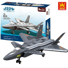 Military DR.Luck JX003 1:50 J20 Heavy Stealth Fighter Building Blocks 290pcs Army Military Helicopter Bricks Toys for Children(China)