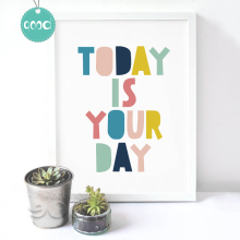 "Quote ""Today is a good day"" Canvas Art Print Painting Poster, Wall Pictures For Home Decoration, Frame not include FA031-2(China)"